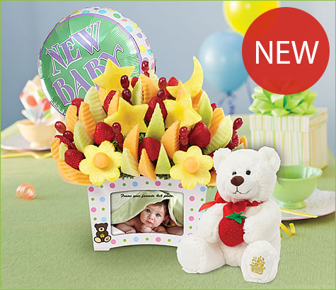 First Moments Bouquet with Balloon and Plush Bear | Edible Arrangements®