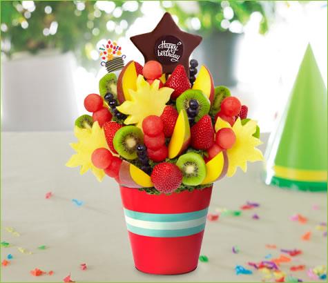 Mango Kiwi Blueberry Daisy with Birthday Pop | Edible Arrangements®