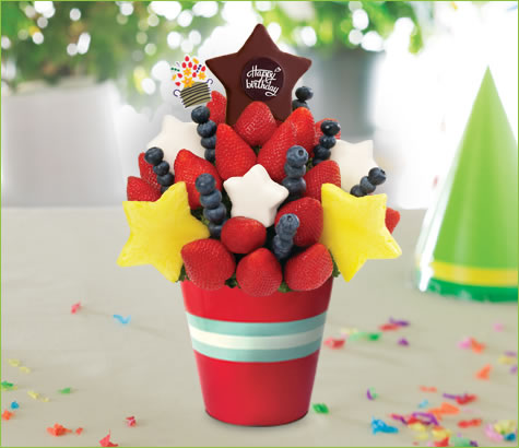 Red, White & Blueberry Daisy with Birthday Pop | Edible Arrangements®