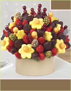 Berry Chocolate Bouquet with Dipped Dates and Mixed Toppings