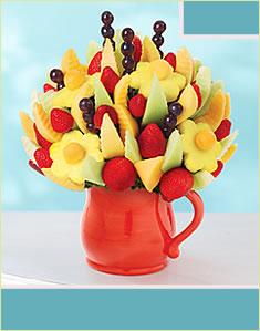 Delicious Fruit Design in Red Ceramic Pitcher