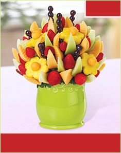 Delicious Fruit Design in Green Ceramic Container